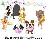 a dog's concert. | Shutterstock .eps vector #727943233
