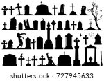 gravestones and tombstones... | Shutterstock .eps vector #727945633