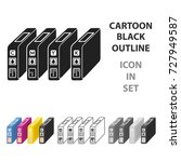 ink cartridges in cartoon style ... | Shutterstock .eps vector #727949587