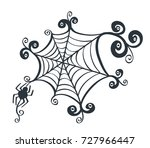 spider web drawn for halloween... | Shutterstock .eps vector #727966447