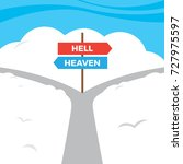 choice of heaven and hell at... | Shutterstock .eps vector #727975597