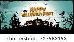 happy halloween night concept... | Shutterstock .eps vector #727983193
