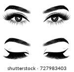 fresh brown woman's eyes.idea... | Shutterstock .eps vector #727983403