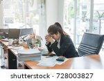 business woman feeling stress...   Shutterstock . vector #728003827