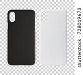 Small photo of Mobile case isolated on transparent layer background. Blank phone cover for your design. Clipping paths object.