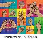 hand vector fingers gestures in ... | Shutterstock .eps vector #728040607