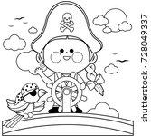 pirate girl captain sailing on... | Shutterstock .eps vector #728049337