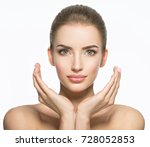 beautiful face of young... | Shutterstock . vector #728052853