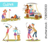 set of female and male golfers... | Shutterstock .eps vector #728053033