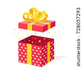 opened red gift box with ribbon ... | Shutterstock .eps vector #728057293
