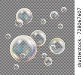 3d soap bubbles transparent... | Shutterstock .eps vector #728067607
