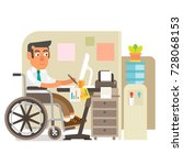 differently abled person... | Shutterstock .eps vector #728068153