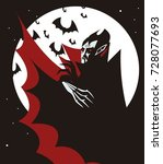 evil vampire in the night | Shutterstock .eps vector #728077693