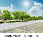 asphalt road and green tree in... | Shutterstock . vector #728083273