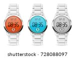 men digital watch with colored... | Shutterstock .eps vector #728088097