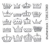 hand drawn various crowns set ... | Shutterstock .eps vector #728117083