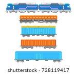 flat  railway locomotive and... | Shutterstock . vector #728119417