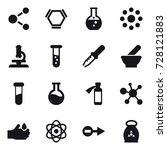 16 vector icon set   molecule ... | Shutterstock .eps vector #728121883