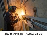 lift worker welding elevator... | Shutterstock . vector #728132563