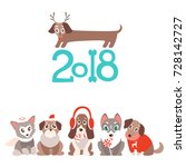 vector background with cute... | Shutterstock .eps vector #728142727