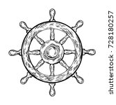 ship steering wheel engraving... | Shutterstock .eps vector #728180257