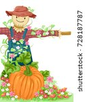 illustration of a scarecrow... | Shutterstock .eps vector #728187787