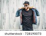 hipster handsome male model... | Shutterstock . vector #728190073