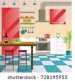 kitchen cozy interior with bar... | Shutterstock .eps vector #728195953