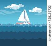 Sea Illustration. White Sail...