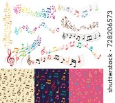 vector music notes music melody ... | Shutterstock .eps vector #728206573