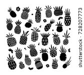 pineapple set  sketch for your... | Shutterstock .eps vector #728207773