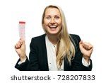 happy woman with lucky lottery...