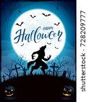 text happy halloween on blue... | Shutterstock .eps vector #728209777