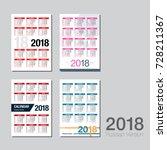 set of pocket calendars 2018... | Shutterstock .eps vector #728211367