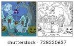 halloween background cemetery... | Shutterstock .eps vector #728220637