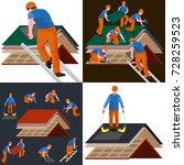 roof construction worker repair ... | Shutterstock . vector #728259523