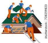 roof construction worker repair ... | Shutterstock . vector #728259823