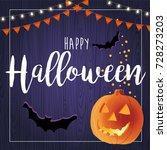happy halloween vector... | Shutterstock .eps vector #728273203