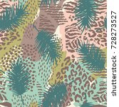 trendy seamless exotic pattern... | Shutterstock .eps vector #728273527