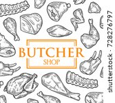 butcher shop hand drawn banner  ... | Shutterstock .eps vector #728276797