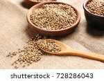 bowl and spoon with hemp seeds... | Shutterstock . vector #728286043