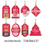 christmas sale tags vector set... | Shutterstock .eps vector #728286127