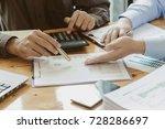business team hands at work... | Shutterstock . vector #728286697