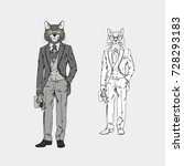 cat man dressed up in vintage... | Shutterstock .eps vector #728293183