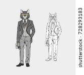 Cat Man Dressed Up In Vintage...