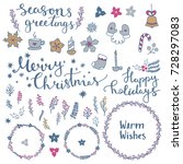 merry christmas and happy new... | Shutterstock .eps vector #728297083