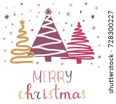 merry christmas greeting card... | Shutterstock .eps vector #728300227