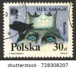 "Small photo of MOSCOW RUSSIA - CIRCA OCTOBER 2017: a post stamp printed in POLAND shows an illustration of the Snow Queen, the series ""HAFNIA '87, Fairy Tales By H.C.Andersen (1805-1875)"", circa 1987"
