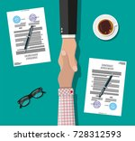 two businessman shake hands... | Shutterstock .eps vector #728312593