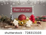 christmas background with... | Shutterstock . vector #728313103